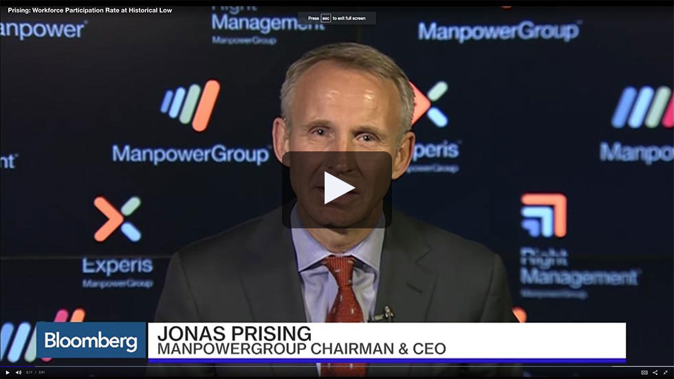 ManpowerGroup Jonis Prising interview on Bloomberg