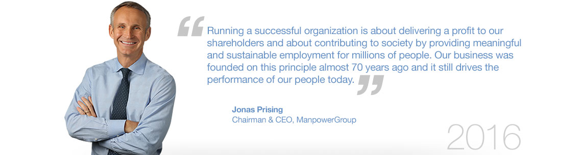 ManpowerGroup's CEO Jonas Prising on Sustainability